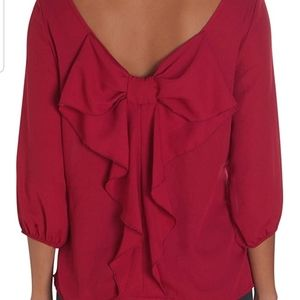 Boutique chiffon hot coral pink bow ruffle top